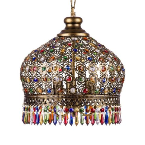 Светильник из латуни и цветного стекла в восточном стиле