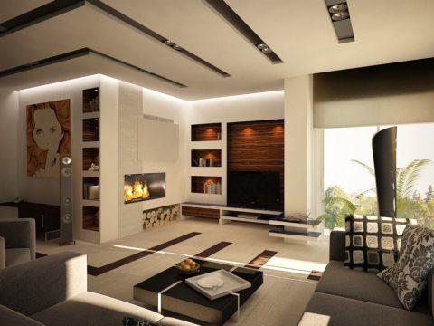 Светлый потолок с периметральной декоративной подсветкой