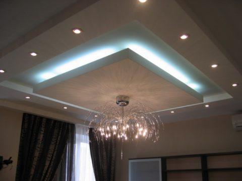 Светодиодная подсветка идеально подходит для потолков в зале