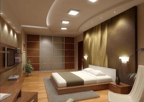 Светодиодные панели обеспечивают основное освещение спальни