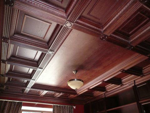 Темный потолок украсит домашний кабинет