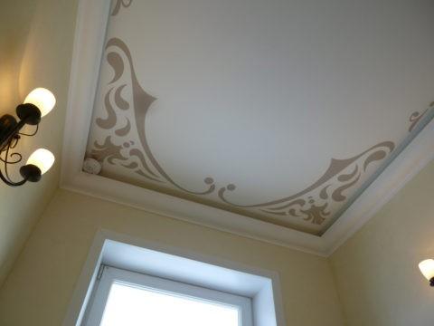 Трафаретное оформление потолка