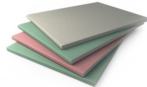 Цветная оболочка указывает на тип листа: серый – стандартный ГКЛ, зелёный – влагостойкий ГКЛВ, розовый огнестойкий