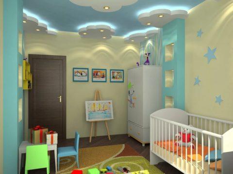 «Тучки» с подсветкой в дизайне детской комнаты