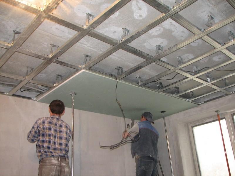 сколько стоит монтаж гипсокартона на потолок