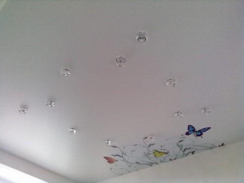 В невысоком помещении рисунок на потолке должен соответствовать его площади и не влиять на уменьшение пространства