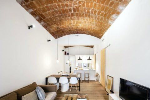 Вариант дизайна помещения с арочным потолком: стиль контемпорари