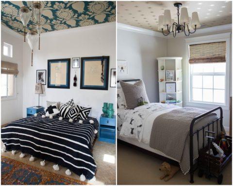 Вариант оформления спальни виниловыми полотнами