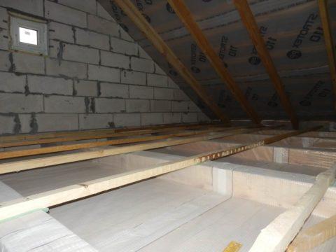 Вариант утепления чердачного перекрытия: по бетонной плите монтируют лаги, а в ячейки укладывают (или засыпают) утеплитель