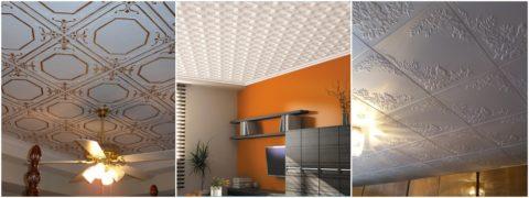 Варианты отделки потолка полистирольной плиткой