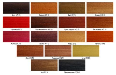 Варианты оттенков древесины, обработанной морилкой