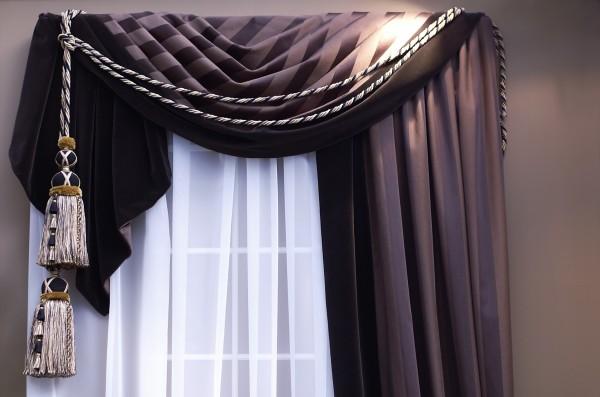Витой шнур в дизайне штор