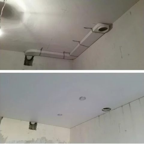Воздуховод в потолке под вытяжку
