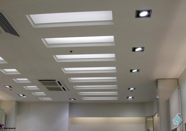 Вставки из матового стекла в гипсокартонный потолок