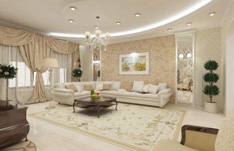 Высокий потолок в интерьере гостиной позволяет сделать его двухуровневым