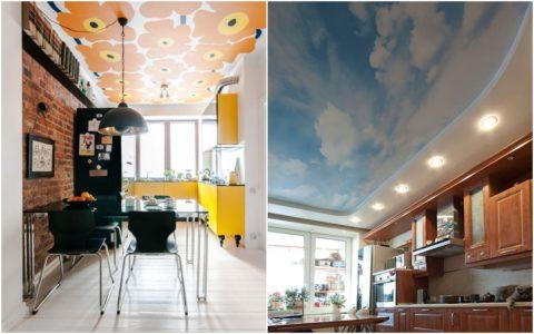 Яркая кухня – потолки с обоями