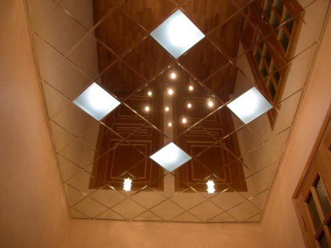 Зеркальная плитка из нержавеющей стали со стеклянными вставками