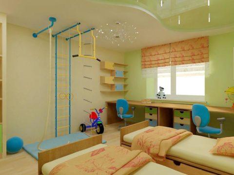 Зонирование комнаты для двоих детей