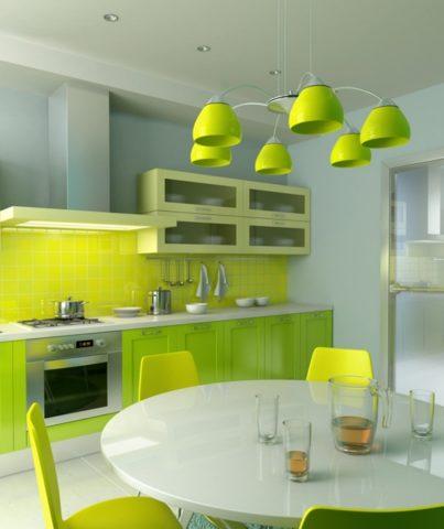 Зонирование кухни при помощи осветительных приборов