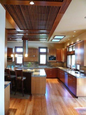 Зонирование кухни с помощью освещения