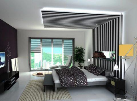 Зонирование спальни гипсокартонной конструкцией
