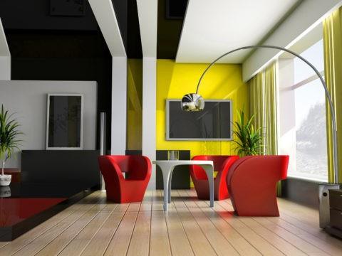 Зонирование студийного помещения: комбинация чёрного натяжного полотна со светло-серой гипсокартонной конструкцией