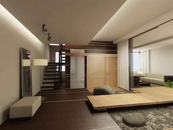 Зонирующий потолок в двух уровнях